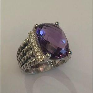 David Yurman 16x12mm Amethyst Ring Sz 9